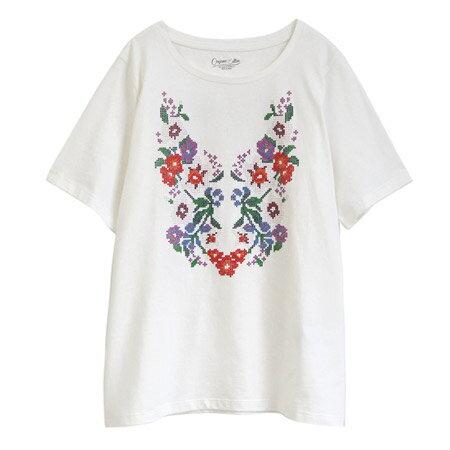 クロスステッチ風フロントフラワープリント Tシャツ(商品画像)