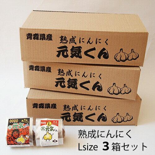 青森県産 元祖熟成黒にんにくLサイズ12株×3