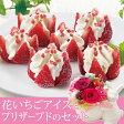 【母の日フラワーギフト】【送料無料】プリザーブドセット「博多あまおう 花いちごアイス」