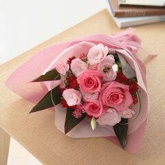 大人の女性をピンクや赤のお花で表現。大人かわいいブーケ花束「ピンク・ソルベ」
