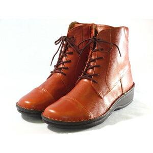 <送料・手数料無料>底付け手縫いの内側ファスナー付きレースアップショートブーツです。(婦人靴)。40511
