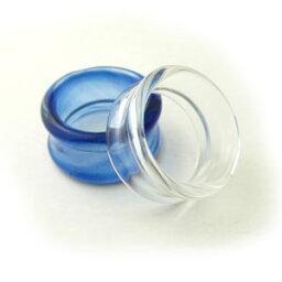 ボディピアス 透明!ガラス製シンプルフレアトンネルピアスwtn-glass25mm【ボディーピアス】