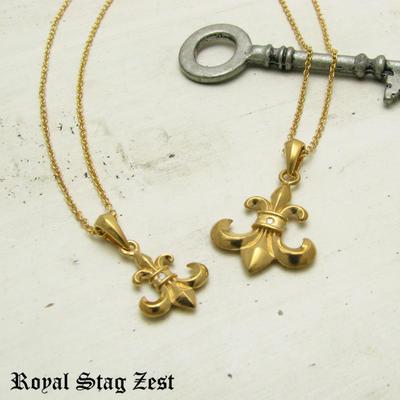 ペアネックレス シルバー K23RGP ゴールド RoyalStagZEST 百合の紋章 フルールドリス 天然 ダイヤモンド 二個セット SN26-007008【ペンダント】