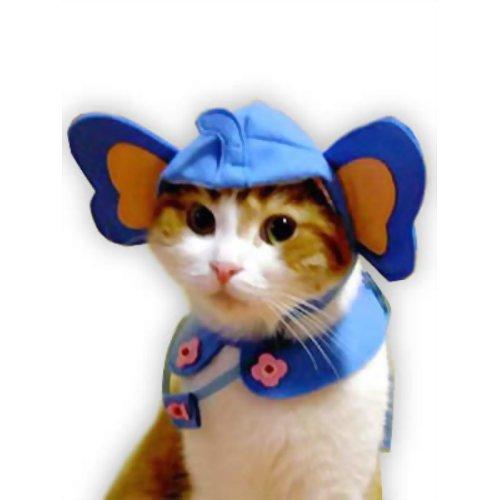 ペット用品 猫用品(グッズ) 猫用衣類・アクセサリー ぞうにゃん幼稚園へ行くセット (ブルー)