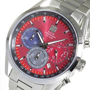 レビュー投稿で次回使える2000円クーポン全員にプレゼント直送エルジンELGINクロノクオーツメンズ腕時計FK1411S-Rレッド【腕時計国内正規品】