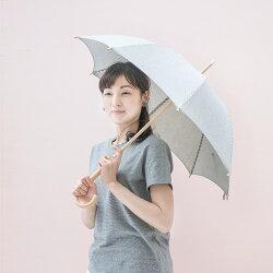 長日傘【ストライプ/グレー】【ログウッド染】~メイドインアースのオーガニックコットン製品~[植物染め]