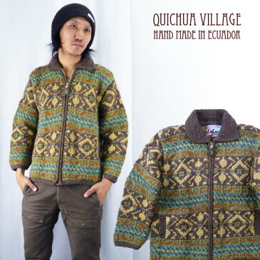 インポートブランド Quichua Villageエクアドル産ハンドメイドニットジャケット(カウチンセーター)