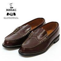 REGAL GLAD HAND リーガル グラッドハンド メンズ レザー コイン ローファー ブラウン ペニー シューズ 紳士靴 革靴 【2019年 春夏 新作】