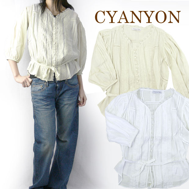 レディース CANYON de CHELLY レースコットンシャツ