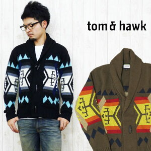 トム&ホーク TOM&HAWK カーディガン セーター ネイティブ ショールカラー Lucky Luciano