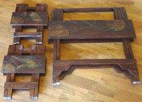 《アジアン家具》木製折りたたみテーブルセット/ロータス