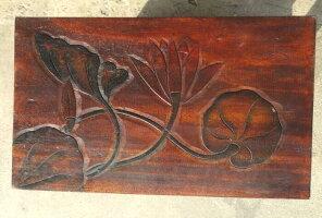 《アジアン家具》木製置き台/ロータス