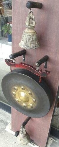 【銅製】タイゴング《銅鑼》+銅製ベル2個☆壁掛けデザイン