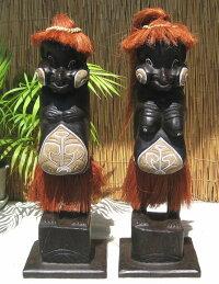 木彫りエスニックドール《赤毛のちび人形》〜男女ペア〜