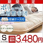 敷布団+カバー+収納ケース約10cmの厚み防ダニ防臭抗菌