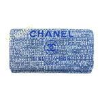 新品【CHANEL】シャネルA80053ドーヴィルフラップ長財布ブルー☆送料無料☆