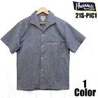 フェローズシャンブレーオープンカラーシャツPherrow'sEASYNAVY21S-PIS1半袖国産日本製メンズアメカジあす楽送料無料