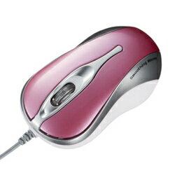 サンワサプライMA-BL1P(ピンク)_有線_BlueLEDマウス_3ボタン_USB