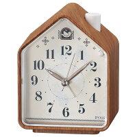 セイコー NR444A(茶木目模様) 目覚まし時計 PYXIS(ピクシス)