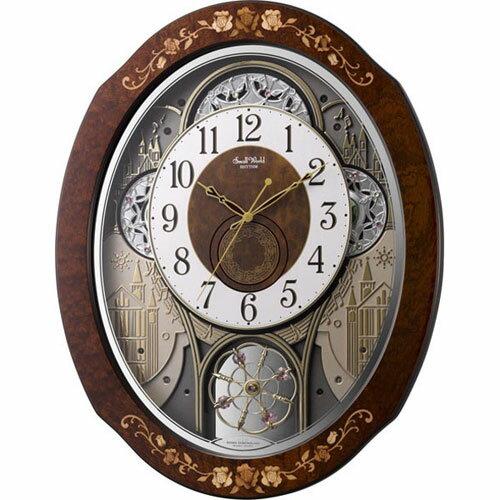 リズム時計 4MN521RH06(茶色象嵌仕上) スモールワールドティアモ 電波掛時計:イーベストPC・家電館