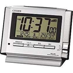 77b3b8f7e9 シチズン 8RZ134-019(シルバーメタリック) 電波目覚まし時計 パルデジットユーイ 8RZ134019ポータブル 熱中症対策 アウトドア 外出  気温 湿度 散歩 日焼け .