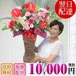 Sタイプ【スタンド花】バスケット、10,000円(色おまかせ)始めました。限定3名様/毎日。スタンド花 オープン 花 フラワー アレンジ花 開店祝い 移転祝い 誕生日 ギフトなどに大好評。全国にお届け致します。(北海道・九州・沖縄・除く)