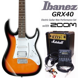 IbanezアイバニーズGRX40TFBエレキギターマーシャルアンプ付初心者セット16点ZOOMG1on付き【エレキギター初心者】【送料無料】