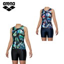 アリーナ レディース フィットネス水着 大きめカラースナップ付きセパレーツ FLA-9947W 水泳 スイミング...