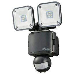 『送料無料』LEDセンサーライト 2灯 650lm 昼光色 電池式 保護等級IP44 ブラック OHM 06-4239 LS-B285A19-K
