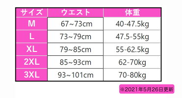 ボディシェイパーサイズ表
