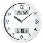 ノア精密 W-631(ホワイト) ダブルメジャー 温湿度計付き掛け時計