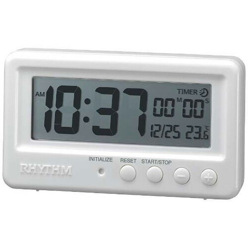 5ead8c6dbb リズム時計 8RDA72SR03(白) クオーツ目覚まし時計 アクアプルーフ 8RDA72SR03ポータブル 熱中症対策
