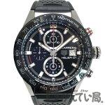 【中古】TAGHeuer(タグ・ホイヤー)H-01ホイヤー01CAR201Z.FT6046裏スケブラック黒文字盤SSラバーベルト約43mmクロノグラフデイト腕時計メンズ【USED-AB】