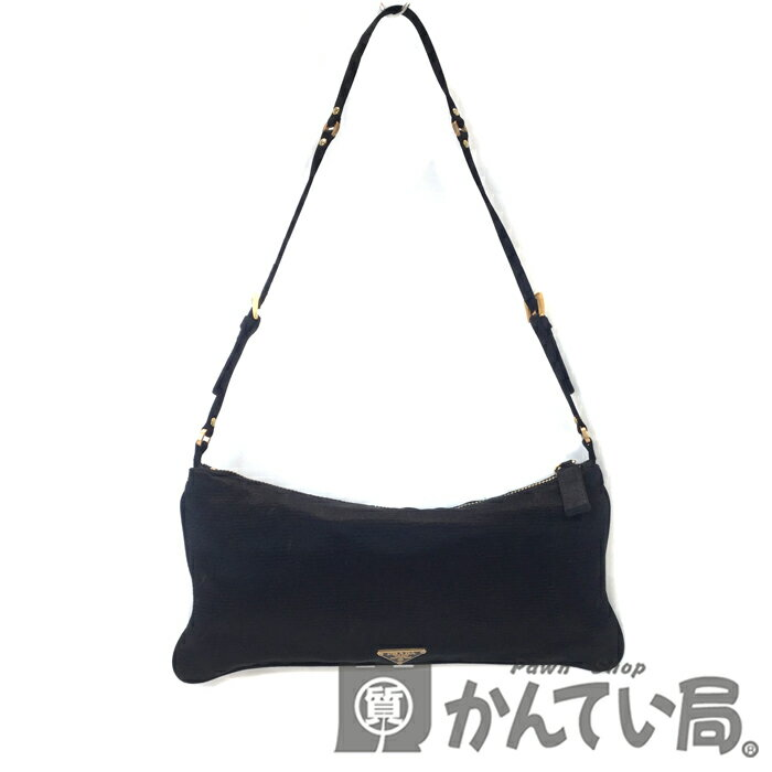 產品詳細資料,日本Yahoo代標|日本代購|日本批發-ibuy99|包包、服飾|包|女士包|【中古】PRADA (プラダ) ショルダーポーチ アクセサリーポーチ ハンドバッグ サテン ブラッ…