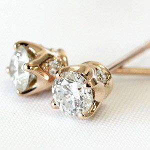 K18 横顔も美しい ダイヤモンド 四本爪 スタッド ピアス 0.4ct:ジュエリーエクセレンテ