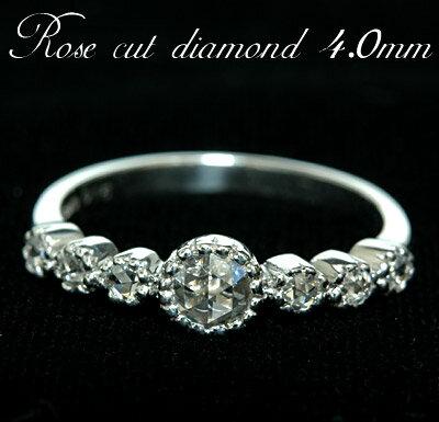 K18 美しい煌きと透明感 ローズカットダイヤモンドリング4.0mmK18ホワイトゴールド・K18ピンクゴールド・K18イエローゴールド・プラチナ900:ジュエリーエクセレンテ