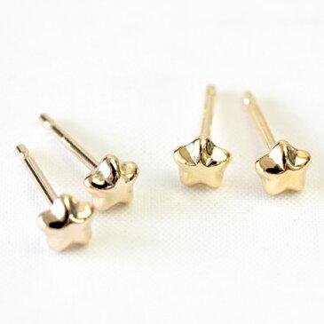 K18 セカンドピアス 軸太 0.9mm スター 星 ピアス ゴールドピアス シンプル レディース ネコポス 送料無料 1ペア販売