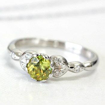 K18 スフェーン×ダイヤモンド リング<フラワーハートデザイン>ホワイトゴールド・ピンクゴールド・イエローゴールド:ジュエリーエクセレンテ
