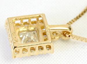 ダイヤモンドプリンセスカットトータル0.3ctペンダントネックレスK18ベネチアンアジャスタフリー45cm