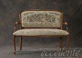 アンティーク調 イタリア家具ロココ調 背付きベンチ