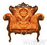 アンティーク調 ヨーロッパ家具 ロココ調イタリア家具チェア 一人掛けソファ