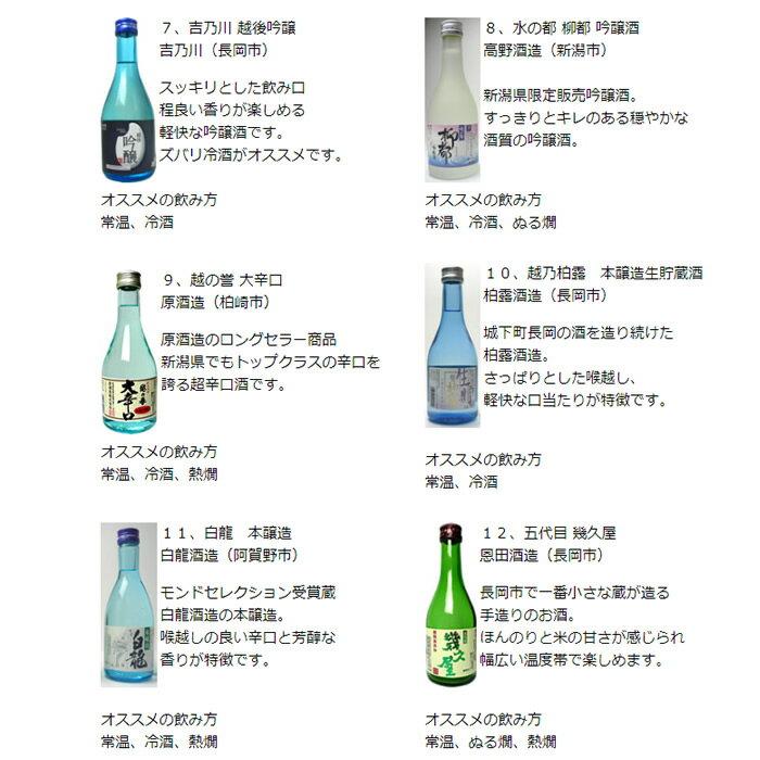 日本酒 大吟醸 純米酒 吟醸酒 本醸造など酒質の違いを楽しむ 新潟 十二酒蔵 飲み比べセット 300ml×12本日本酒セット 飲み比べ ミニボトル 新潟 辛口 日本酒 大吟醸 純米酒 吟醸酒 本醸造