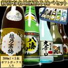 新潟有名地酒飲み比べセット(越乃寒梅、八海山他)300ml×5本贈答用手提げカートン入り