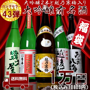【第43弾】越乃寒梅&大吟醸2本入り福袋日本酒飲み比べセット1800ml×5本(越乃寒梅、大吟醸無濾過、雪の八海、越後桜大吟醸、幾久屋)