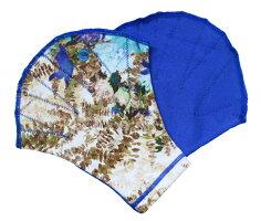 ボタニカルブルー柄〔Sサイズ〕無地部分:青〔アクアミット水泳練習用水中ウォーキングエクササイズ水泳用手袋柄ソフトミット男性用女性用可愛い柄花柄〕