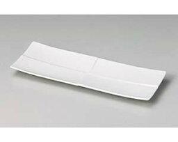 和食器 ツ133-057 白磁線筋入り大長皿 【ECJ】