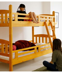 2段ベッド二段ベッドシングル木製パイン天然木ベッドはしご付きモダンカントリー調無垢子供部屋ベット高さ160cmライトブラウンナチュラルホワイト白シングルベッド分割セパレート送料無料楽天通販