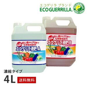 【期間限定お試し価格】【送料無料】エコゲリラ液肥A・B液(2本組)4Lプロの品質をご家庭でも!水耕栽培や土栽培にも!ハイポニカ液肥などと使い方は同じです。[ハイポニカ][液体肥料][液肥][水耕栽培]