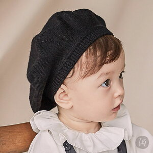 ニットベレー帽 帽子 ベージュブラック ベビー baby KIDS キッズ 子供服 お出かけ 0歳 1歳 2歳 誕生日 プレゼント