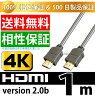 HDMIケーブル 1m 最新バージョン2.0b(全ての旧バージョンに完全互換)500日保証&100%相性保証PS4の4K映像にも対応ARC対応/HDR対応/HDMI対応テレビやPCの接続に高品質HDMI2.0[1m]【メール便送料無料】